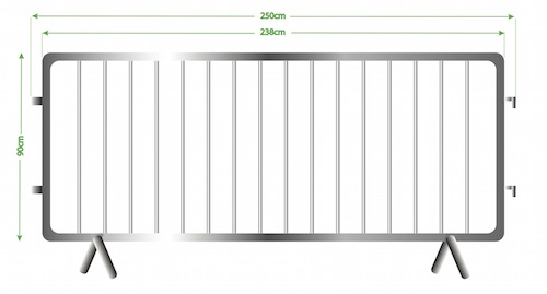 crowd barrier dimensions