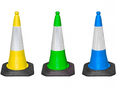 Yellow, Green And Blue Traffic Cones